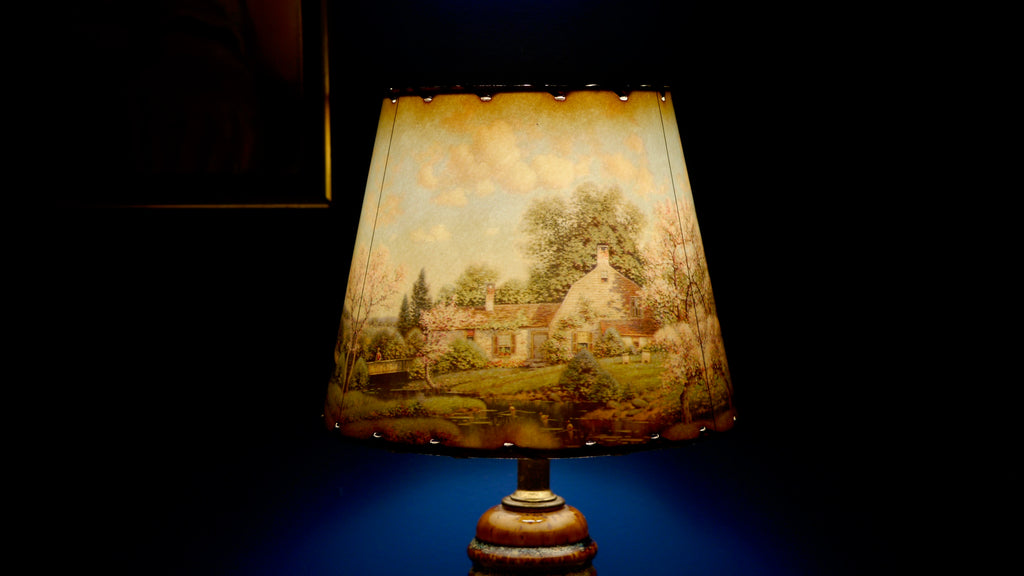 Mid Century Landscape Lampshade Cherry Blossoms Cottage Whip Stitch
