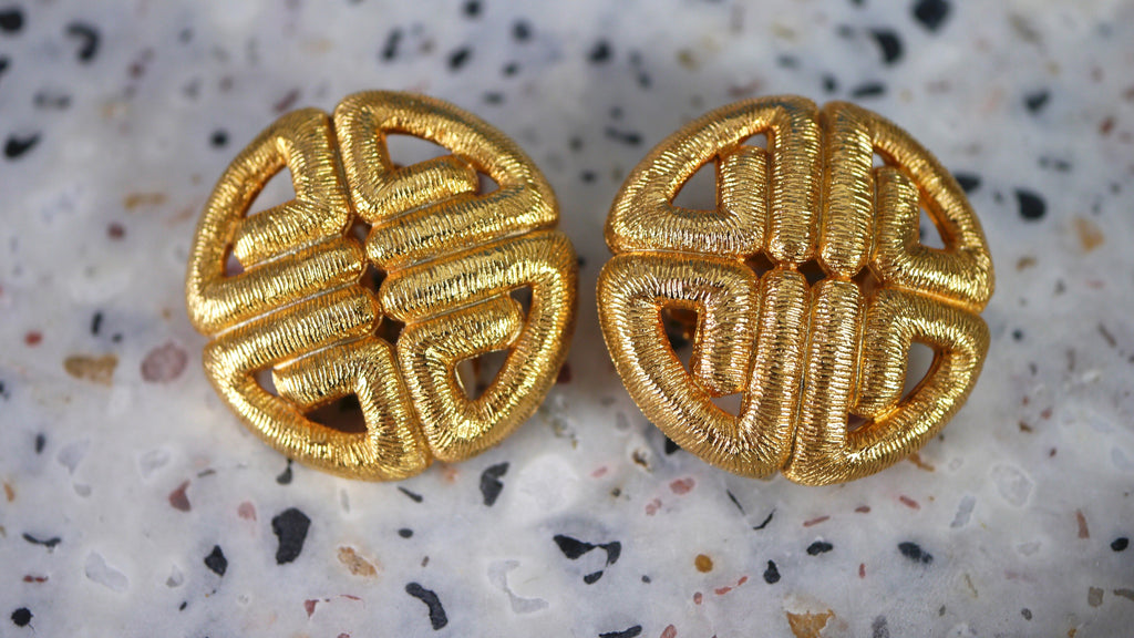 Vintage 1980s Givenchy Logo Earrings Clip On Gold Tone