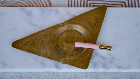 Vintage brass triangle ashtray etched