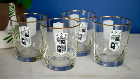Mid Century Zenith Rocks Lowball Glasses Gold Rim set of 4 Libbey