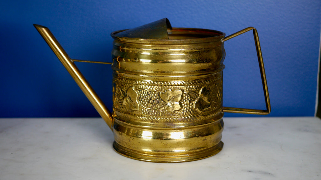Vintage Brass Watering Can Ivy Leaves England