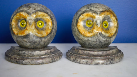 Mid Century Alabaster Owl Bookends Italy Hand Carved