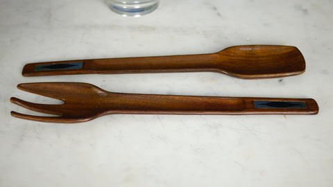 Mid Century Modern Salad Tongs Teak Atomic