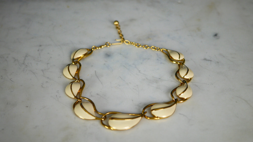Vintage 1990s Necklace by Trifari in Enamel Cream White Gold
