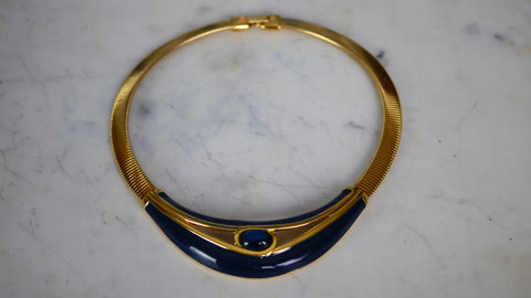 Vintage 1980s Napier Collar Necklace Blue