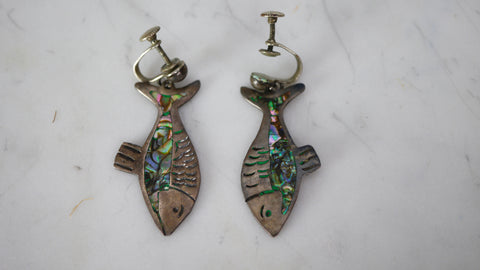 Vintage 1940s Mexican Sterling Silver Earrings Fish Abalone Shell Mexico Taxco Screw Back