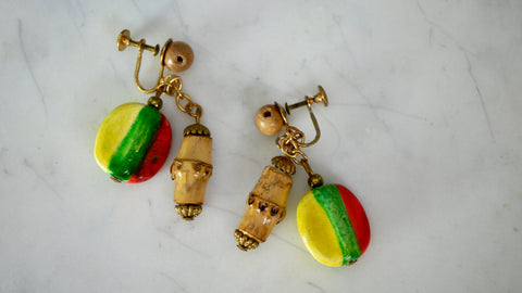 Vintage 1940s Earrings Tiki Party Screw Back Red Yellow Green Wood Dangly Beads