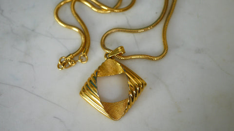 Vintage 90s Monet Long Gold Necklace Geometric Minimal