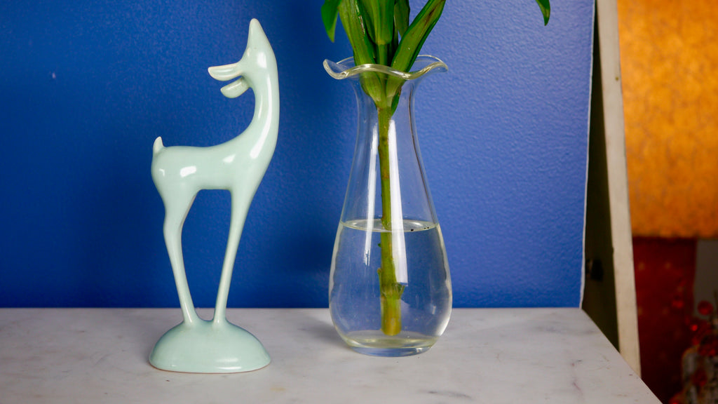 Mid Century Roselane Pottery Deer Light Blue Turquoise