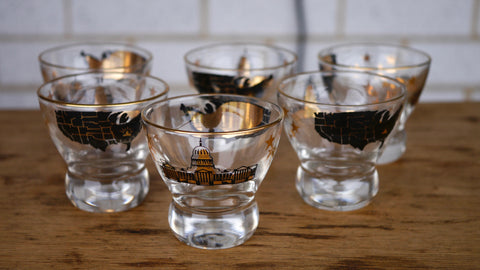 Mid Century Shot Glass Cordial set of 6 Souvenir Washington DC Gold Black Capitol Building