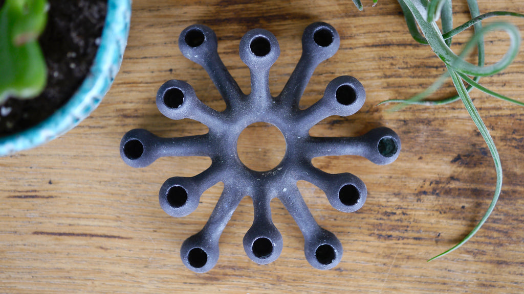 Mid Century Dansk Cast Iron Candle Holder Spider Sputnik Atomic with box