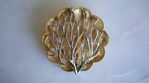 Vintage 1960s Coro Coral Seaweed Brooch gold and silver