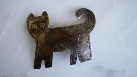 Vintage Cat Brooch Thailand Fish in Belly