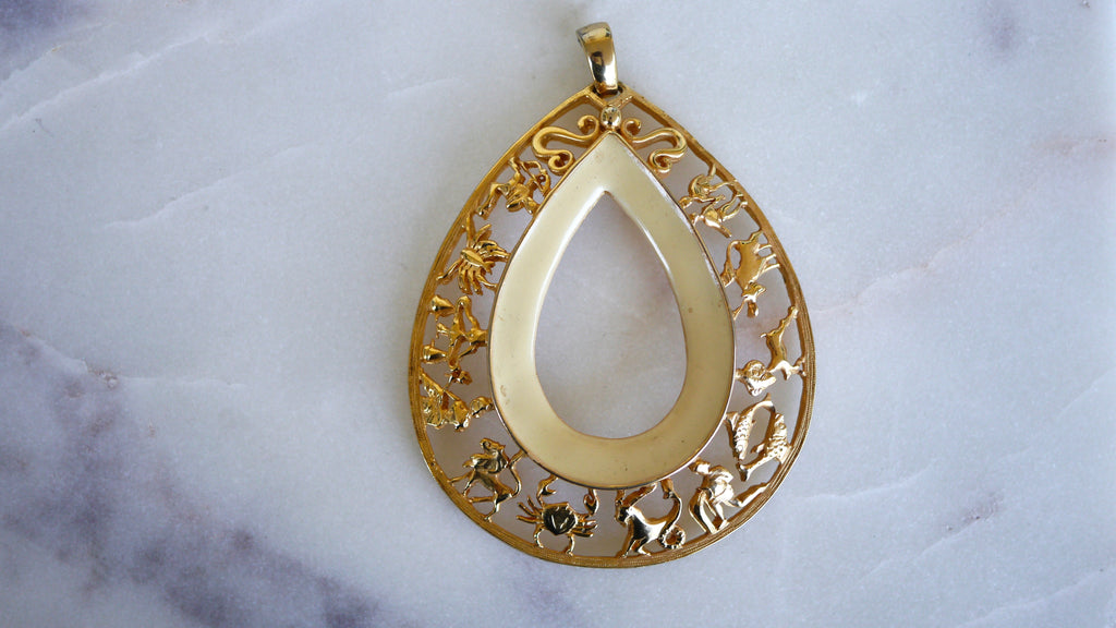 Vintage 1970s Zodiac Astrology Pendant Gold Cream White Enamel Large