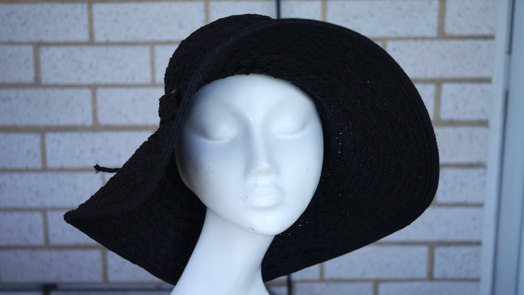 Vintage 1990s Capelli Sun Hat Floppy Straw Hat Dark Blue
