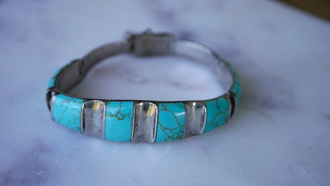 Vintage Mexico Sterling Turquoise Bracelet Hinged Taxco