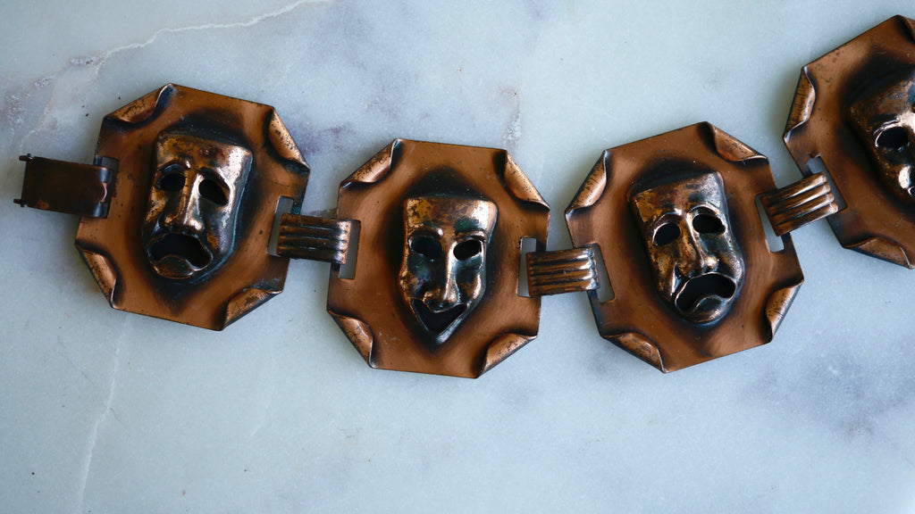 Mid Century Copper Mask Bracelet Comedy Tragedy Drama Theater