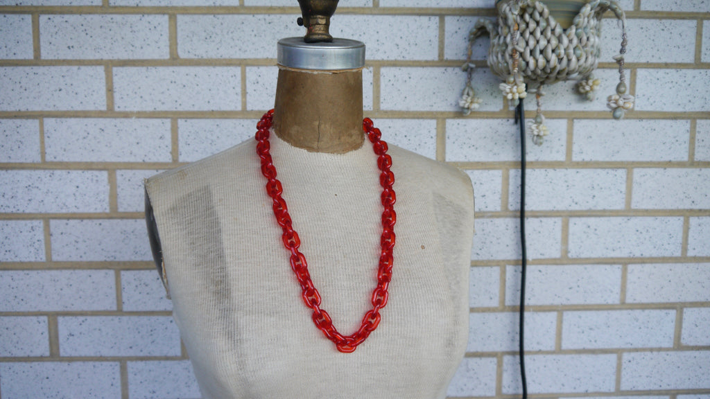 Vintage 1970s Red Acrylic Chain Necklace Nautical Large Plastic