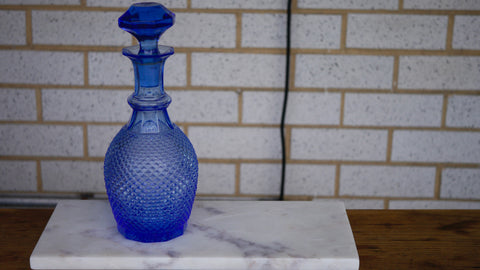 Mid Century Blue Glass Decanter Diamond Point Liquor Colored Glass Stopper