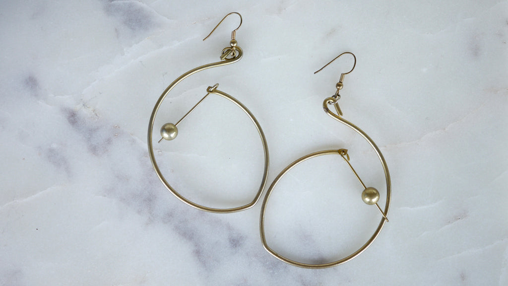 Vintage Mobile Earrings Kinetic Brass Minimalist