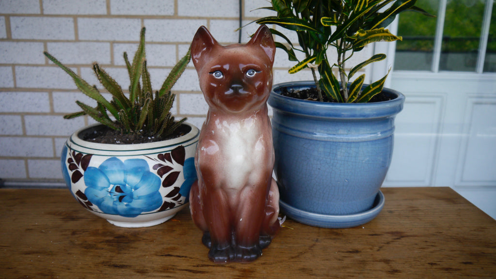 Vintage Siamese Cat Vase Ceramic Planter