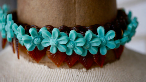 Vintage 1940s Celluloid Flower Necklace Blue Early Plastic Small Size