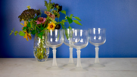Vintage 1980s Cristal d'Arques-Durand Set of 4 Wine Glasses Longchamp