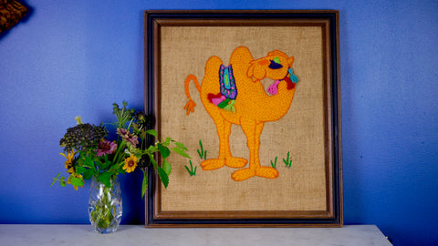 Vintage 1960s Camel Crewel Needlepoint Frame Paragon Crewel Creatures