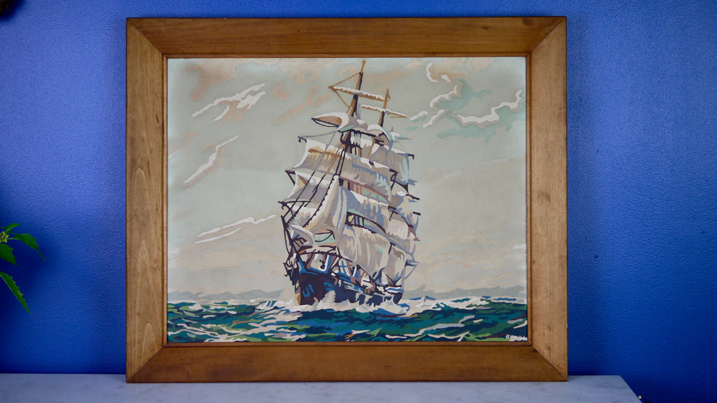 Mid Century Ship Paint by Number in frame