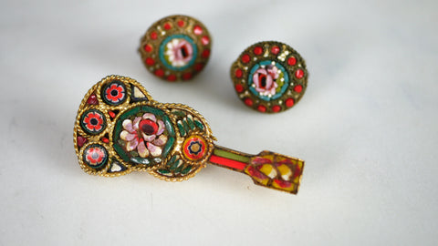 Mid Century Micro Mosaic Guitar Brooch Pin Earrings Set Italy