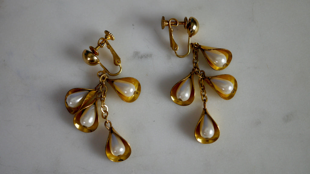 Mid Century Miriam Haskell Screw Back Earrings Pearl Cluster Dangly Drop
