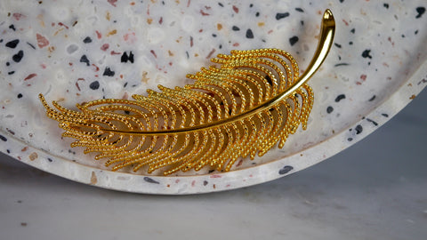 Vintage Monet Large Feather Brooch Gold Tone