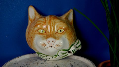 Vintage 1970s Toni Raymond Pottery Ginger Cat String Dispenser