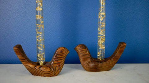 Mid Century set of 2 Nils Strandin Carved Wood Bird Candle Holders