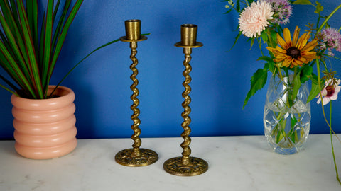 Vintage Brass Spiral Twist Candleholders Pair Candlestick Israel