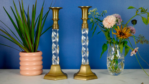 Vintage 1970s Brass Lucite Clear Candleholder candlestick twisted large