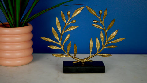 Vintage Brass Laurel Branch Wreath on Stone Stand