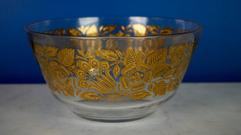 Mid Century Georges Briard Serving Bowl Large Gold Floral Flowers Salad