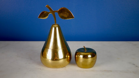 Vintage Brass Pear Apple Box Set Trinket Stash