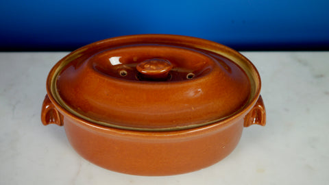 Vintage Langley Covered Dish Casserole Pottery Stoneware 1 quart