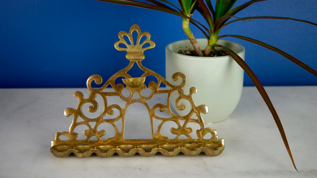 Vintage Menorah Oil Burning Brass Israel Museum