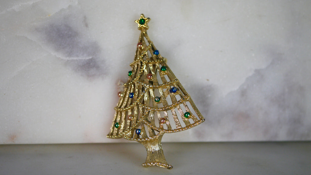 Vintage Gerrys Christmas Tree Brooch Painted Ornaments