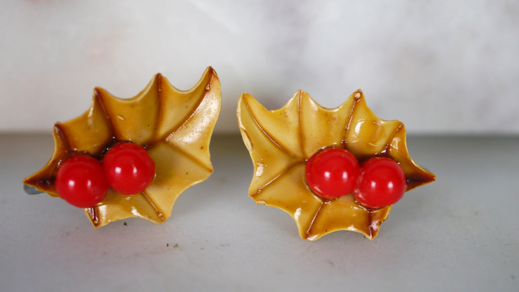 Mid Century Holly Berry Screw Back Earrings Christmas