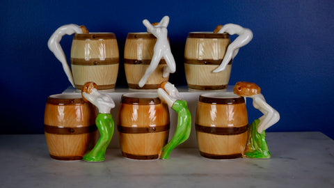 Mid Century Dorothy Kindell Style Striptease Nude Mugs Set of 6
