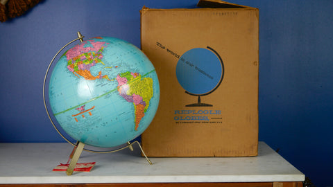 Mid Century Replogle Globe in Original Box NOS