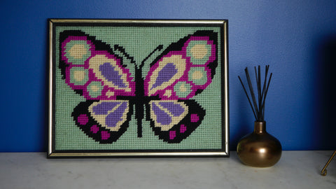 Vintage Butterfly Needlepoint Pink Purple in Frame