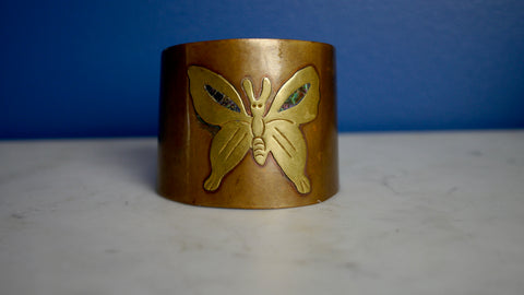Vintage Mexico Copper Cuff Bracelet Butterfly with Abalone Details
