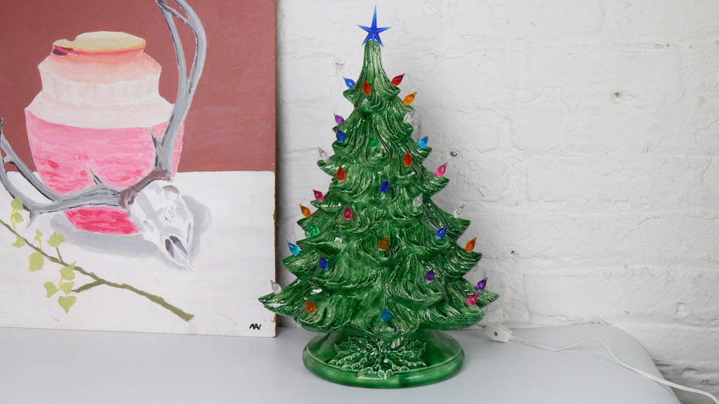 Vintage Large Ceramic Christmas Tree with Lights