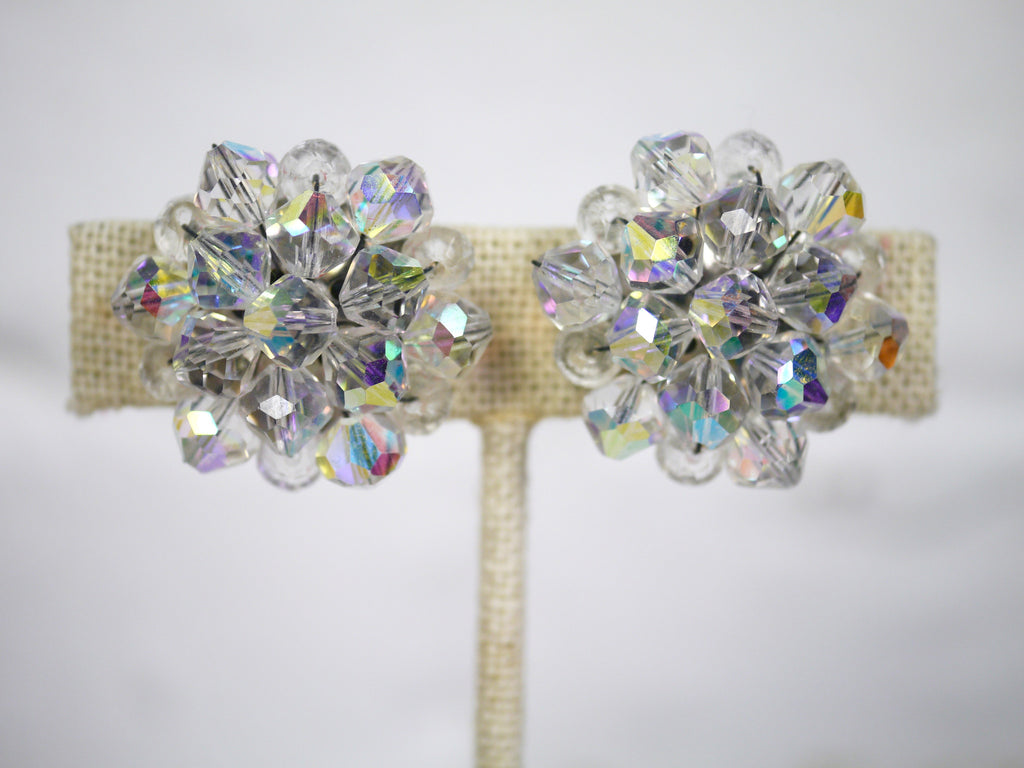 Vintage Mid Century Iridescent Beaded Cluster Clip On Earrings