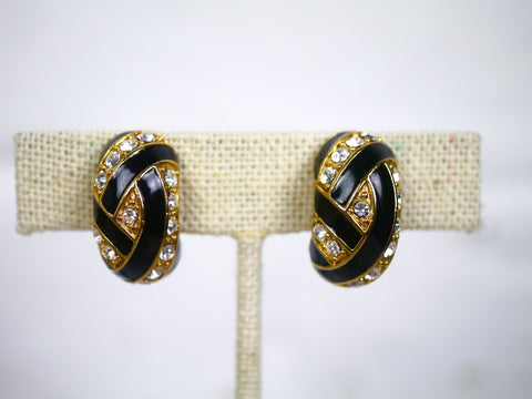 Vintage 1980s Clip On Earrings Black Enamel Gold and Rhinestone